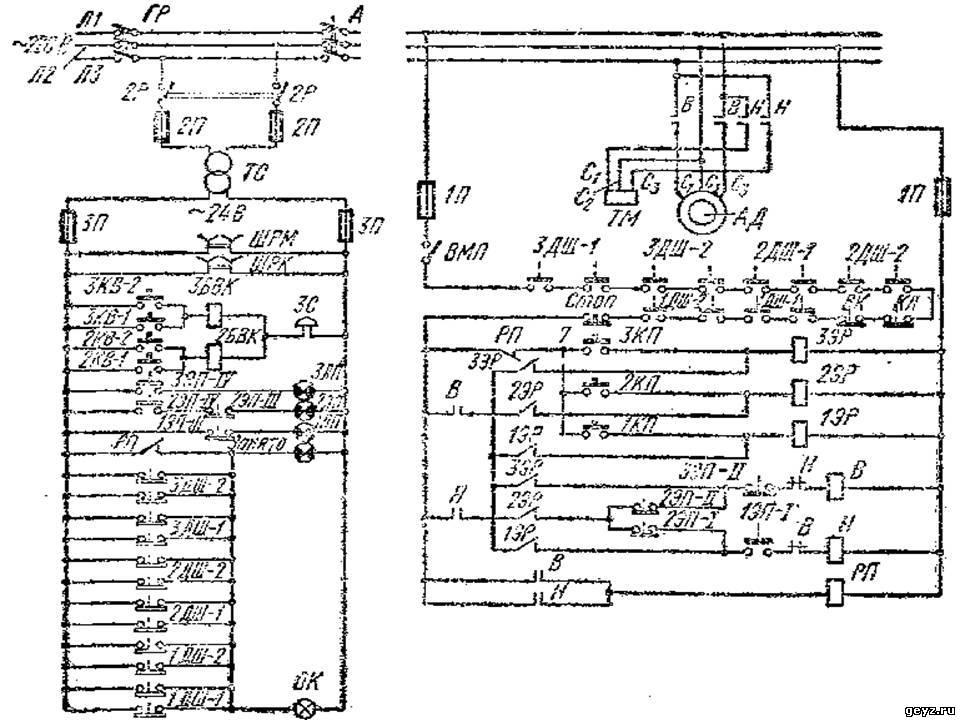 14.70. Принципиальная электрическая схема малого грузового лифта на три остановки.  Лифт приводится в движение от.