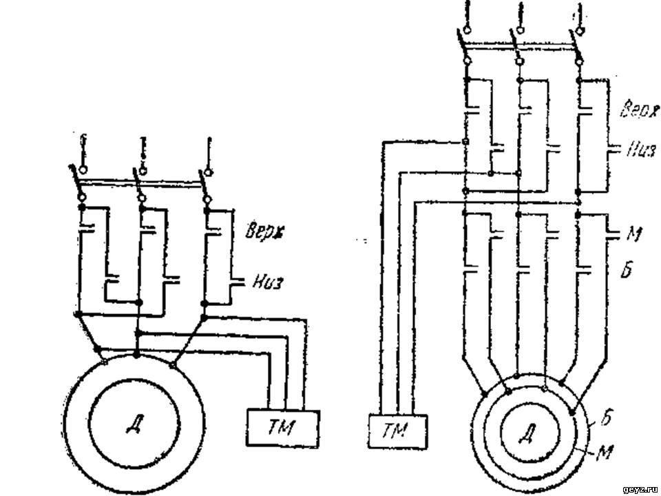 Схема силовой цепи электропривода лифта от асинхронного двухскоростного двигателя.  Привод переменного и постоянного...