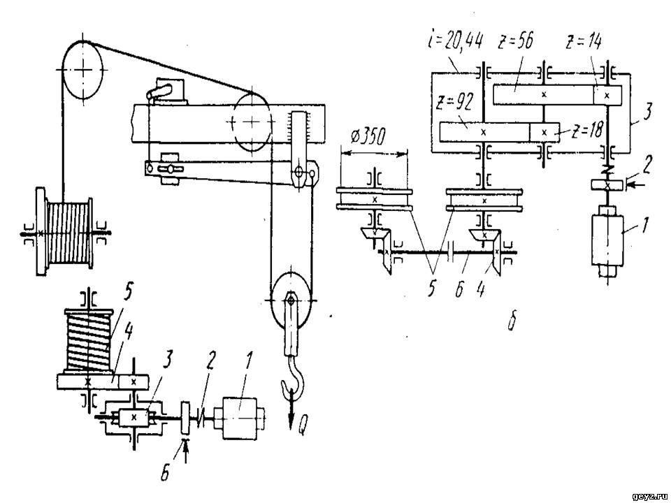 Кинематическая схема механизма подъема груза фото 829